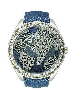 Guess Blue and Silver-Tone World of Tresures Womens watch #U0504L1