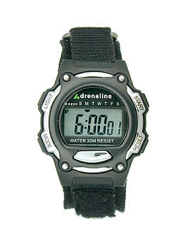 Adrenaline Black/Silver-Tone Digital Womens watch #AD50684