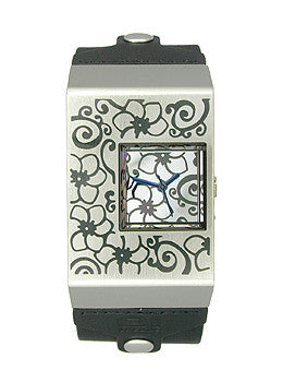 01TheOne Analog Black Leather Womens watch #AN02M03