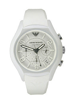 Armani Ceramica Chrono White Dial Mens watch #AR1431