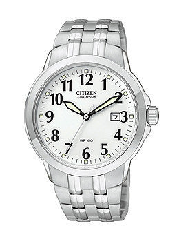 Citizen Eco-Drive Bracelet WR100 White Dial Mens watch #BM7090-51A