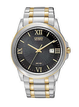 Citizen Eco-Drive Three-Hand Two-Tone Stainless Steel Mens watch #BM7264-51E