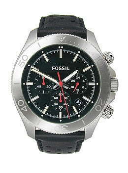 Fossil Retro Traveler Chronograph Leather - Black Mens watch #CH2859
