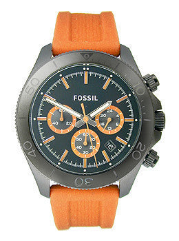 Fossil Retro Traveler Chronograph Silicone - Orange Mens watch #CH2873