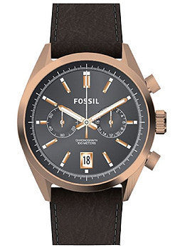 Fossil Del Rey Chronograph Leather - Black Mens watch #CH2991