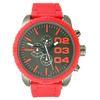 Diesel Double Down 51 Chronograph Silicone - Red Mens watch #DZ4289