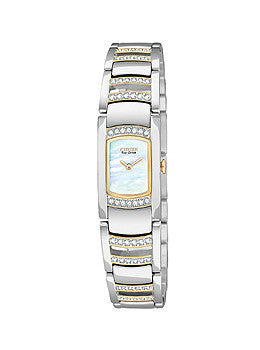 Eco-Drive Silhouette Crystal Mother-of-pearl Dial Womens watch #EG2734-56D