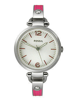 Fossil Georgia Three-Hand Stainless Steel and Leather - Pink Womens watch #ES3258