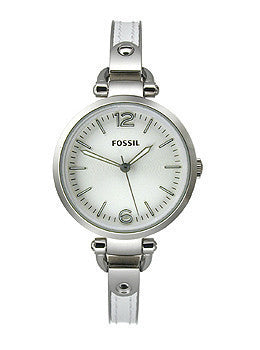 Fossil Georgia Three-Hand Stainless Steel and Leather - White Womens watch #ES3259