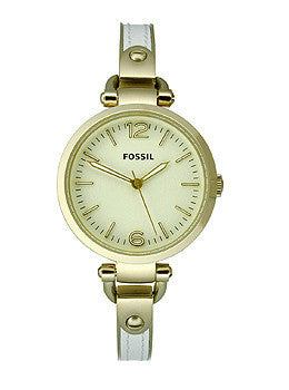 Fossil Georgia Three-Hand Stainless Steel and Leather - White with Gold-Tone Womens watch #ES3260