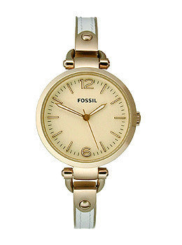 Fossil Georgia Three-Hand Stainless Steel and Leather - White with Rose Womens watch #ES3261