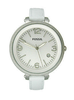 Fossil Heather Three-Hand Leather - White Womens watch #ES3276