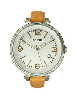 Fossil Heather Three-Hand Leather - Orange Womens watch #ES3280