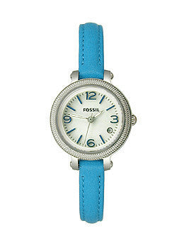 Fossil Heather Three-Hand Leather - Blue Womens watch #ES3304