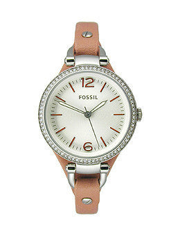 Fossil Georgia Three-Hand Leather - Pink Womens watch #ES3468