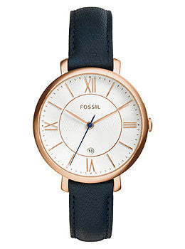 Fossil Jacqueline Three-Hand Date Navy Leather Womens watch #ES3843