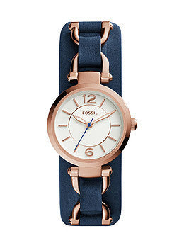 Fossil Georgia Artisan Three-Hand Leather - Blue Womens watch #ES3857