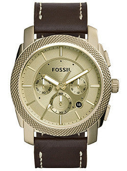 Fossil Machine Chronograph Brown Leather Mens watch #FS5075