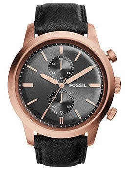 Fossil Townsman Chronograph Leather - Black Mens watch #FS5097