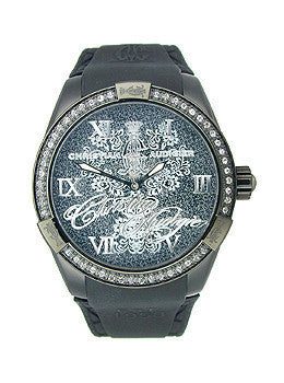 Christian Audigier Intensity Series Midnight Blossom Black Dial Womens Watch #INT311