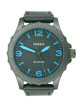 Fossil Nate Three-Hand Leather - Black Mens watch #JR1446