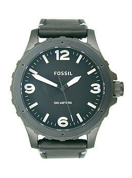 Fossil Nate Three-Hand Leather - Black Mens watch #JR1448