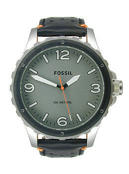Fossil Nate Three-Hand Leather - Black and Orange Mens watch #JR1449