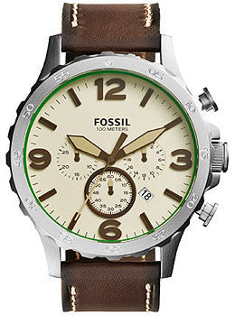 Fossil Nate Chronograph Leather - Dark Brown Mens watch #JR1496