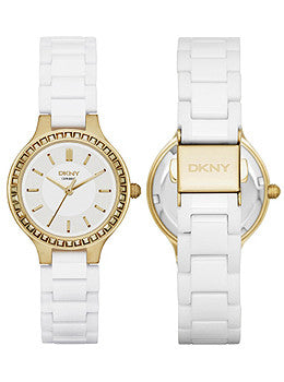DKNY Chambers White Ceramic and Gold-Tone Stainless Steel Womens watch #NY2250