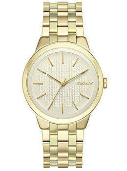 DKNY Three-Hand Gold-Tone Stainless Steel Womens watch #NY2382
