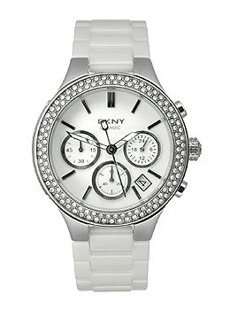 DKNY Ceramic Glitz Chronograph White Dial Womens watch #NY4985