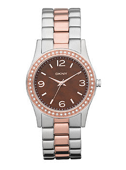 DKNY Glitz Brown Mother-of-Pearl Dial Womens Watch #NY8479