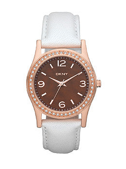 DKNY Glitz Brown Mother-of-Pearl Dial Womens Watch #NY8480