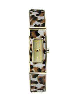 DKNY Astoria Faux Leopard Steel Bangle Womens watch #NY8883