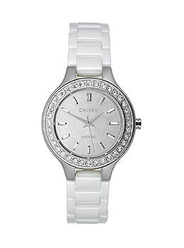 DKNY Broadway White Ceramic Glitzy Womens watch #NY8893