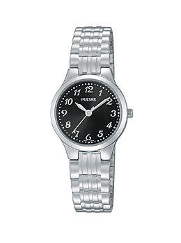 Pulsar Three-Hand Stainless Steel Expansion Band Womens watch #PG2035