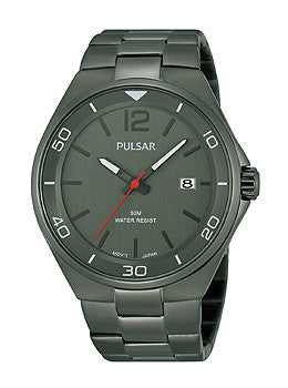 Pulsar Easy Style Three-Hand Date Stainless Steel - Grey Mens watch #PS9327