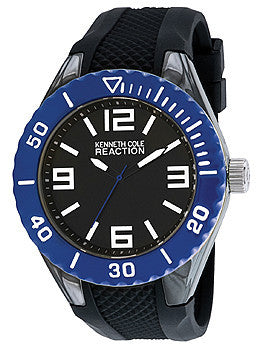 Kenneth Cole Reaction Three-Hand Rubber - Black Mens watch #RK1340