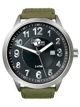 HydrOlix Three-Hand Green Web Fabric/Black Dial Mens watch #XA00207