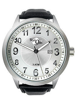 HydrOlix 3-Hand Black Leather/Silver Dial Unisex watch #XA00221