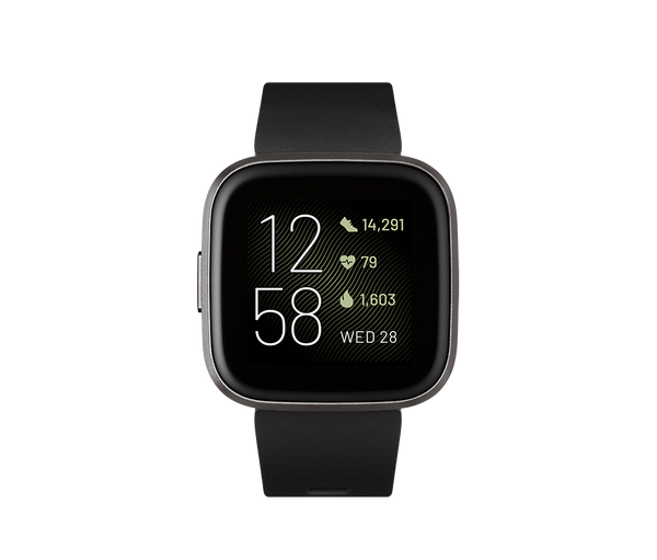 Fitbit Activity Monitors Black Carbon Alum Fitbit Versa 2 Health and Fitness Smartwatch