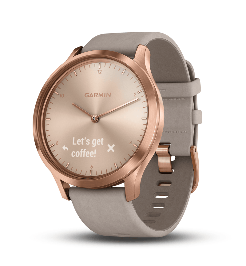 "Garmin Activity Monitors Premium Rose Gold Case with Gray Suede Band / One Size Fits Most (5""-8"") Garmin Vivomove HR Hybrid Smart Watch"