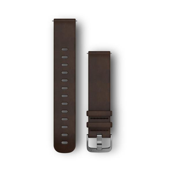 Garmin Garmin Accessories Large / Stainless / Dark Brown Leather Band Quick Release Bands (20 mm)