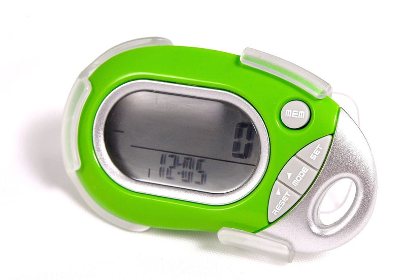 Pedusa Pedometers Green Pedusa PE-771 Tri-Axis Multi-Function Pocket Pedometer and Clip