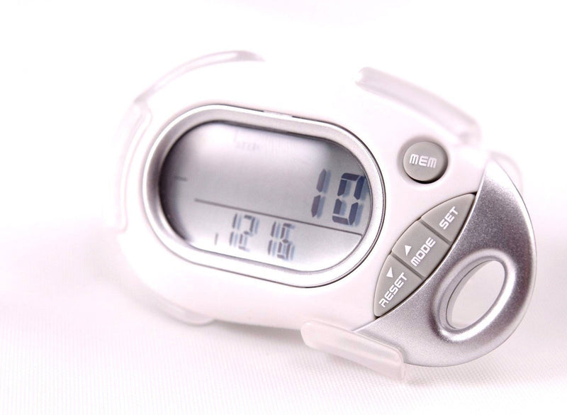 Pedusa Pedometers White Pedusa PE-771 Tri-Axis Multi-Function Pocket Pedometer and Clip