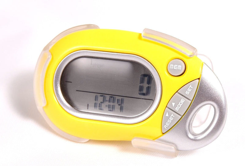 Pedusa Pedometers Yellow Pedusa PE-771 Tri-Axis Multi-Function Pocket Pedometer and Clip