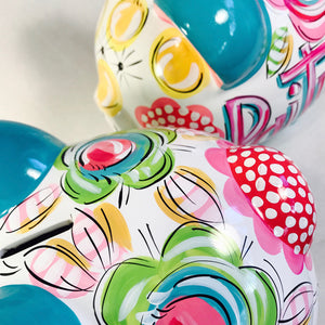 cute hand painted piggy banks for kids rooms, personalized and hand painted piggy banks by Dakri Sinclair