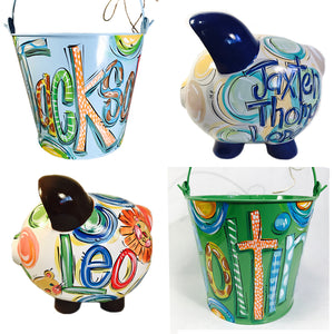 , gifts for boys, personalized gifts for boys, piggy banks for boys, boy piggy banks, room decor for boys, piggy banks, piggy bank, painted metal buckets for boys, boys personalized buckets