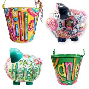 shop for girls, gifts for girls, personalized gifts, painted gifts for girls, buckets, painted buckets, personalized buckets