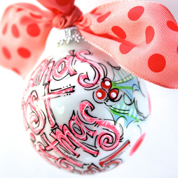PERSONALIZED BABY'S FIRST Christmas PINK Ornament
